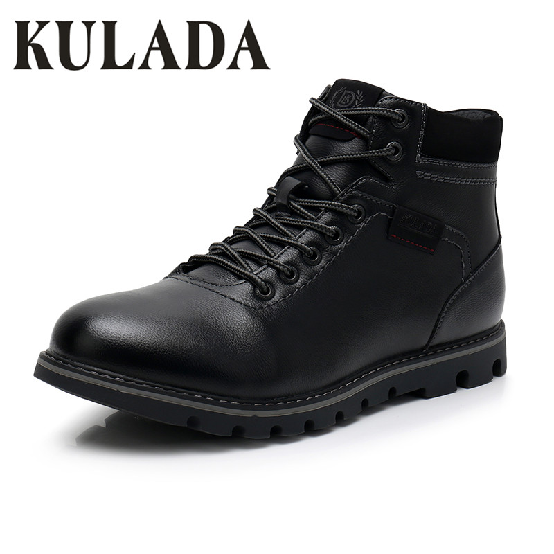 KULADA Men's Boots Super Warm Black Leather Snow Boots Handmade Men Lace Up Outdoor Waterproof Sneaker Casual Winter Shoes Men