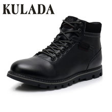 KULADA mannen Laarzen Super Warm Zwart Lederen Snowboots Handgemaakte Mannen Lace Up Outdoor Waterdichte Sneaker Casual Winter Schoenen mannen(China)