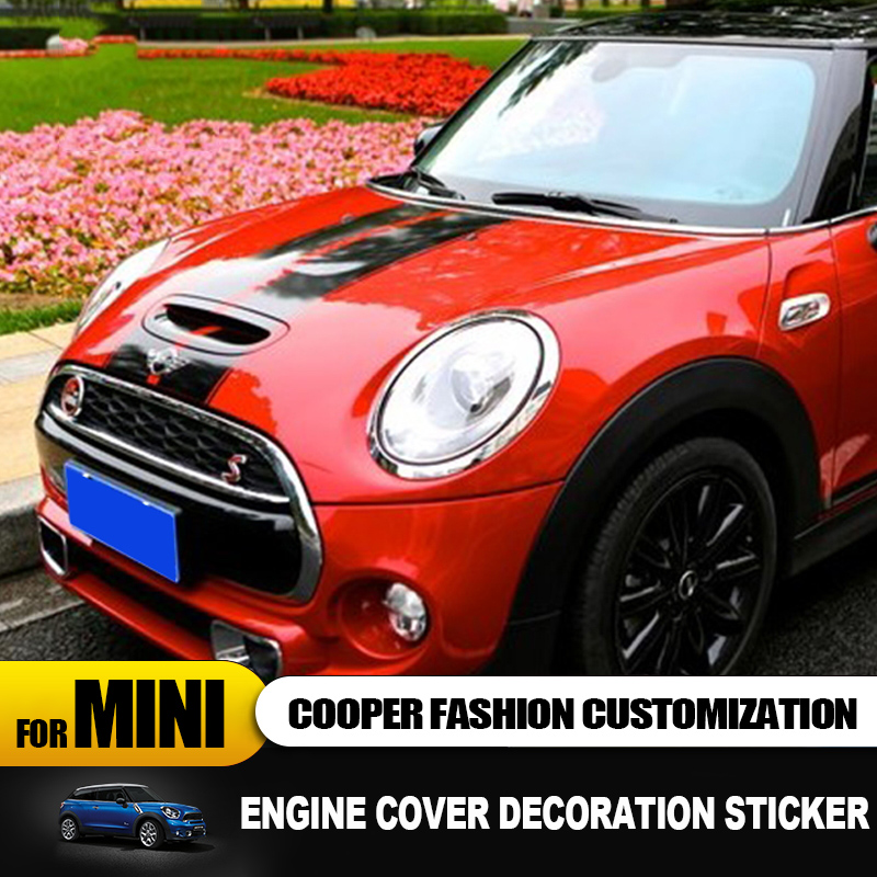 Image 2 - Engine cover+Trunk cover Line Car Stickers And Decals Car styling For Mini Cooper Clubman F55 F56 Sticker decoration Accessories-in Car Stickers from Automobiles & Motorcycles