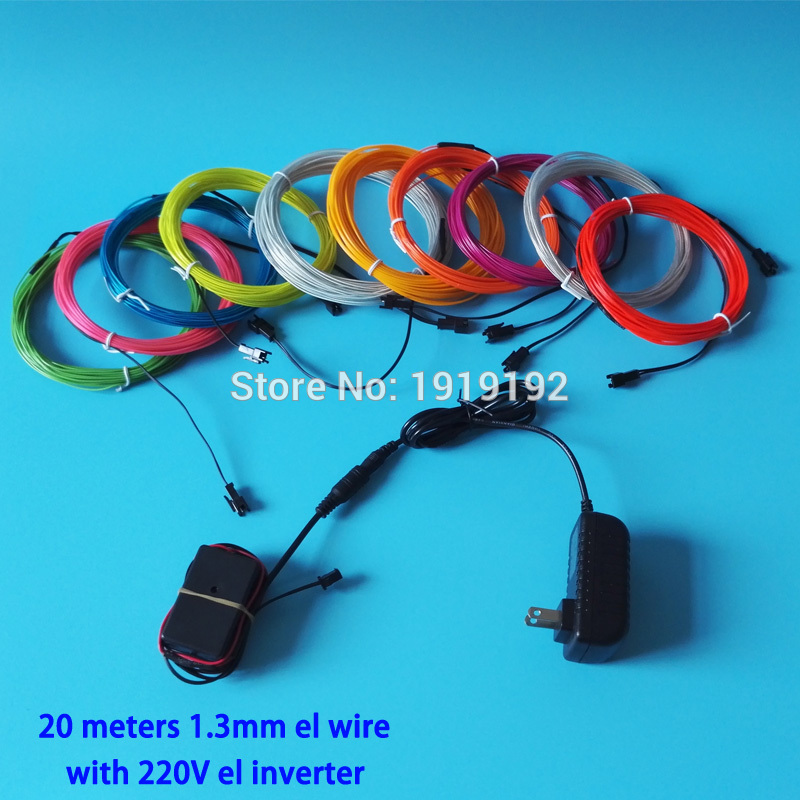10 Color Choice 1.3mm 20Meters EL Wire Flexible Neon Rope light LED Neon strip with 220V inverter For Home and Party Decoration