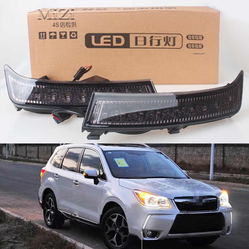 1 Pair Daytime Running Lights DRL Daylight Car White LED DRL Fog Head Lamp Cover Car Styling For Subaru Forester 2013 2014-2016 1 pair car led lights 12 24v drl head lights 8w turn light strip
