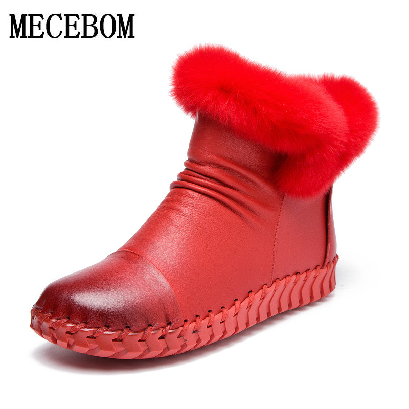 Snow Boots Women's Shoes Ladies Female Plush Winter warm Fur Rubber Genuine Leather Lace Up Flats Round Toe vintage boots A68W muhuisen winter men genuine leather shoes fashion casual plush warm boots lace up flats male snow boots fur inside comfort