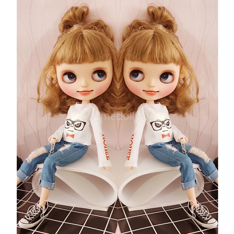 1 Pcs White Cartoon Panda Long-sleeve T-shirt / Jeans For Blyth, Azone, Licca Doll Clothes Pants Accessories