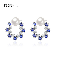 TGNEL S925 Sterling Silver Stud Earrings 2018 Vintage Pearl Circle Earring for Women&Girl Silver Color Jewelry
