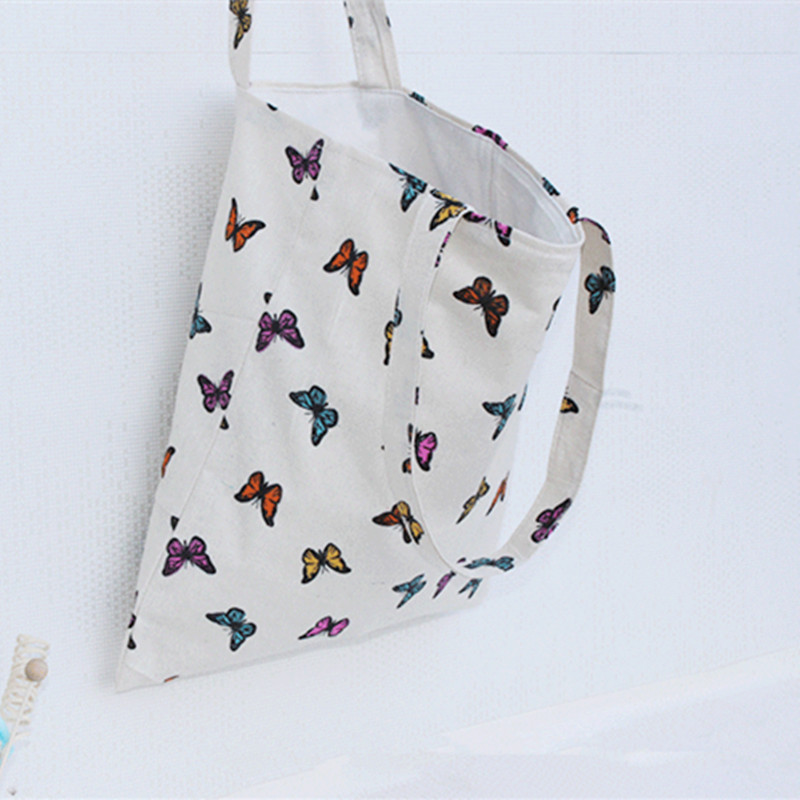 YILE Natural Cotton Linen Eco Shopping Tote Carrying Shoulder Eco Bag Butterfly 1703