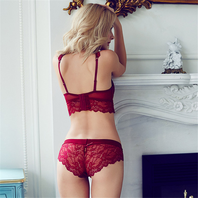 Red Lace Bra Adjustment Ultra-thin Side Gathering