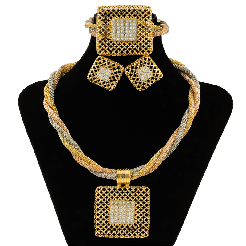 US $14 99 50% OFF|2019 Ethiopian High Quality Gold Jewelry Tassel Crystal  Pendant Necklace Jewelry Sets Turkey Bride Wedding Jewelry Accessories-in