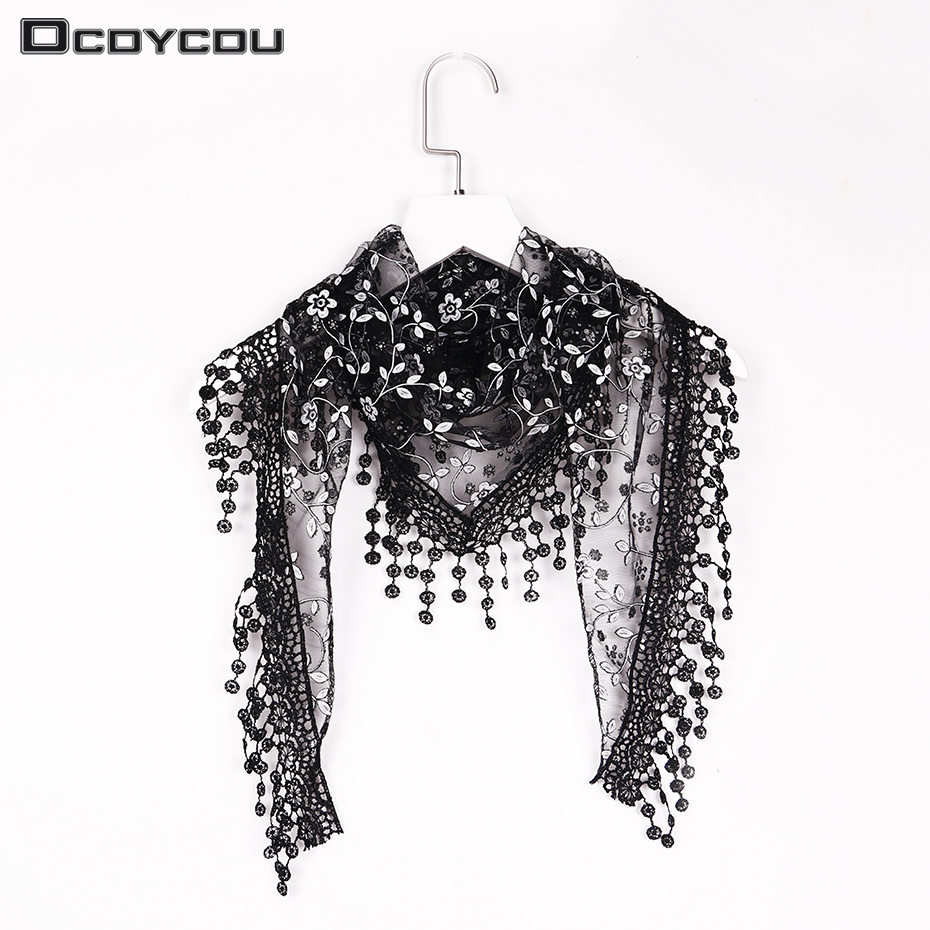 New Design Women Soft Lace Tassel Triangle Wrap Shawl Chiffon Floral Scarf Long Voile Stole Scarves