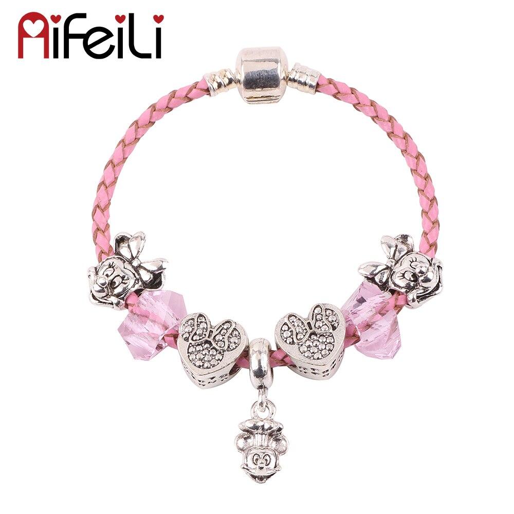 Original Cute Mickey Pendant Minnie Beads Children High Quality Gift DIY Suitable for Women Bracelet European Fashion Jewelry