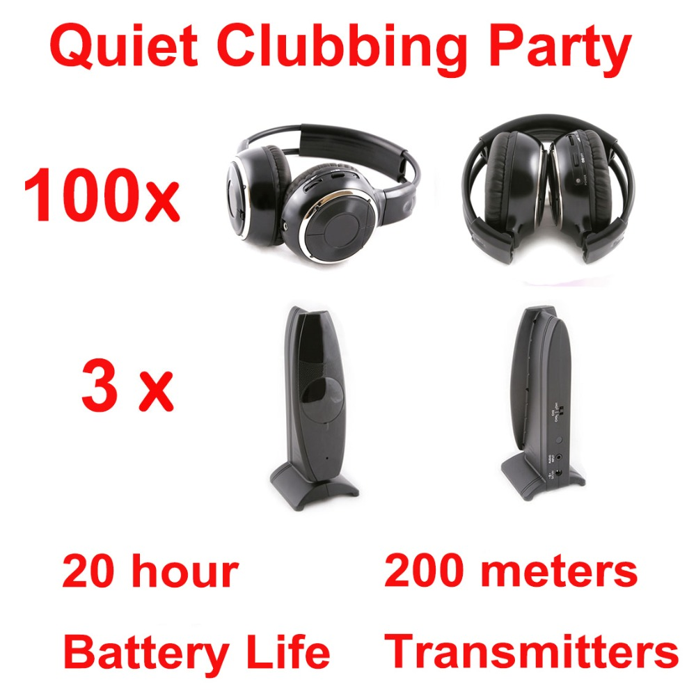 Silent Disco compete system black folding wireless headphones – Quiet Clubbing Party Bundle (100 Headphones + 3 Transmitters)