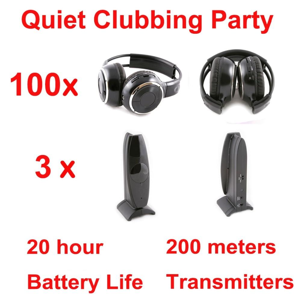 Silent Disco compete system black folding wireless headphones – Quiet Clubbing Party Bundle (100 Headphones + 3 Transmitters)