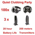 Silent Disco compete system black folding wireless headphones - Quiet Clubbing Party Bundle (100 Headphones + 3 Transmitters)
