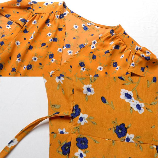yinlinhe Yellow Wrap Beach Dress Mini Sexy V neck Women Summer Beach Dress Short Sleeve Floral Print Elegant Boho tops       112