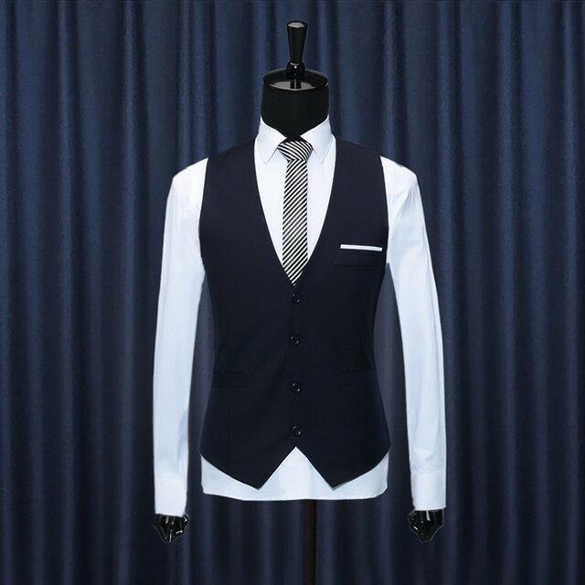Новый 2016 мужская мода бренд высокого качества товары v-образным вырезом свадебный костюм жилет/Мужчины высокого качества чистого цвета жилет деловой костюм