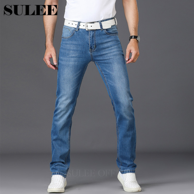 SULEE Men Brand Jeans Fashion Casual Male Denim Pants Trousers Cotton Classic Straight Jeans Masculina