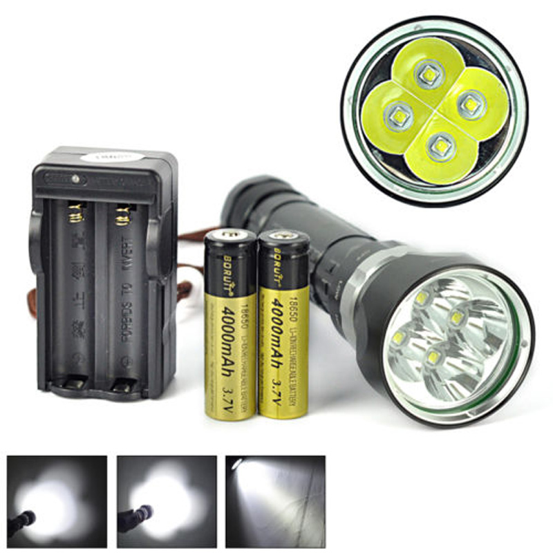 Scuba 4x XM-L2 LED Underwater 100M 8000LM Diving Flashlight Torch+18650+Charger 100m underwater diving flashlight led scuba flashlights light torch diver cree xm l2 use 18650 or 26650 rechargeable batteries