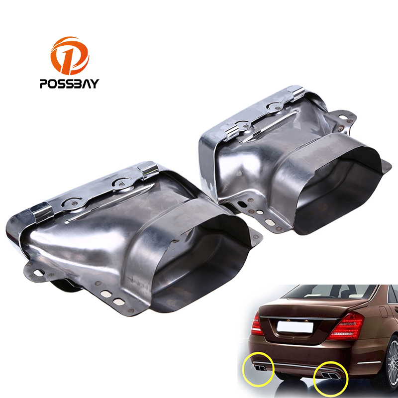 POSSBAY Car Exhaust Pipes Tail Muffler Tips for Mercedes Benz M-Class SUV (W164) 2006-2011 Rear Tail Throat Liner Exhause Pipe car seat cover automobiles accessories for benz mercedes c180 c200 gl x164 ml w164 ml320 w163 w110 w114 w115 w124 t124