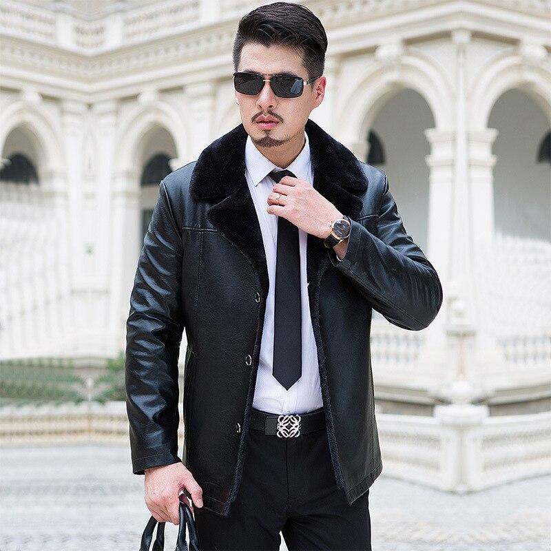 04b525b662895 ... de invierno Cuello de piel hombres de mediana edad gruesa terciopelo  chaqueta de cuero de los hombres Abrigos de plumas invierno Chaquetas para  hombres ...