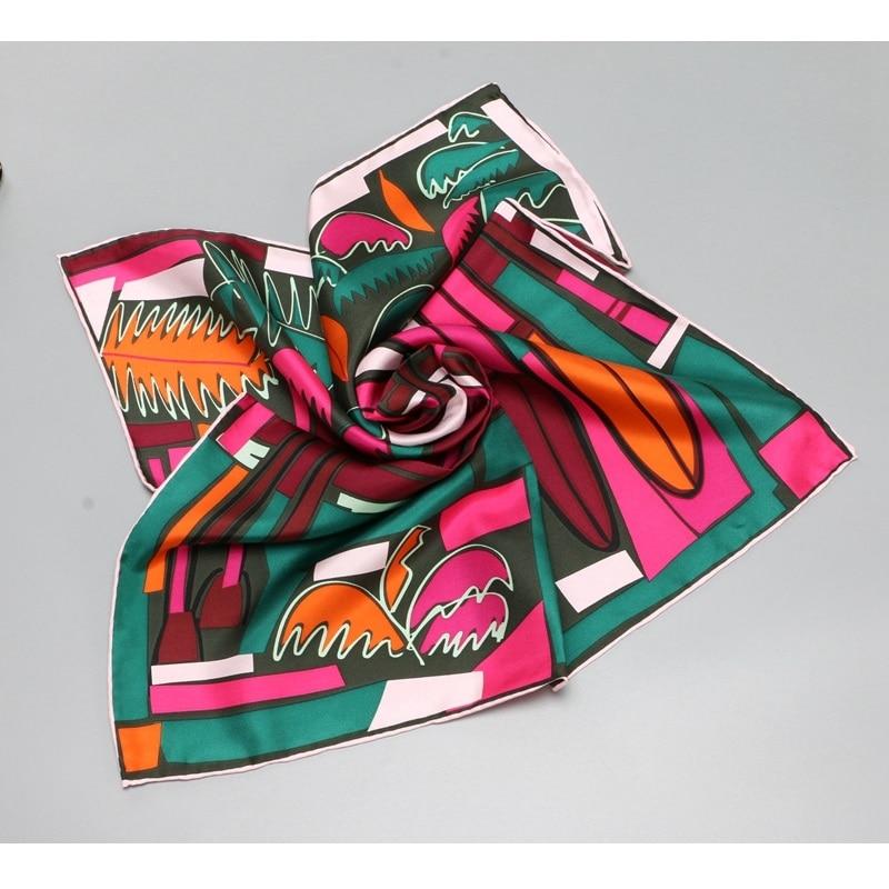 Summer Prints 100% Silk   Scarf   Neckerchief   Wraps   Small Square Silk   Scarf   Headband 52x52cm