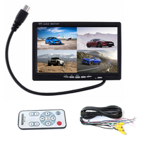 PolarLander Car Video Monitor For Front Rear Side View Camera Quad Split Screen 6 Mode Display