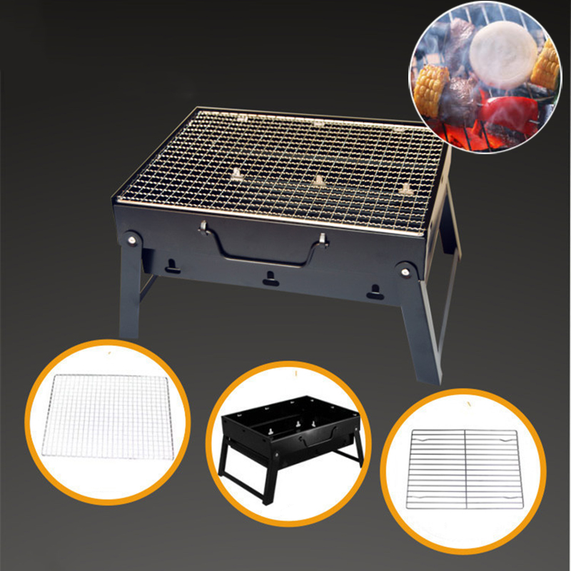 1Set Steel Barbecue Rack Outdoor Portable Household Charcoal Grills BBQ Wire Meshes Portable Picnic Camping Campfire Grill Tools