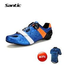 Santic Для Мужчин's Велоспорт Road Обувь углерода Волокно легкие дышащие Велосипедный Спорт Обувь цикл Спортивная обувь sapatilha Ciclismo Zapatillas S12022