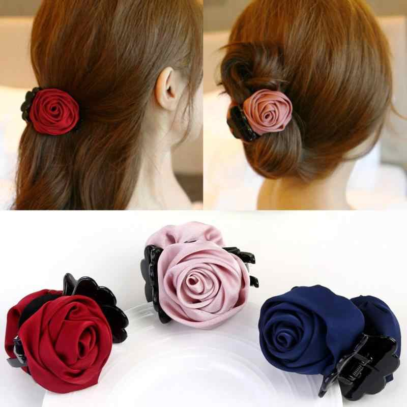 Korean Fabric Rose Bow Hair Claw Elegant Women Solid Cloth Ties Banana Hair Crab Clips Ponytail Hold Girl Hair Accessories