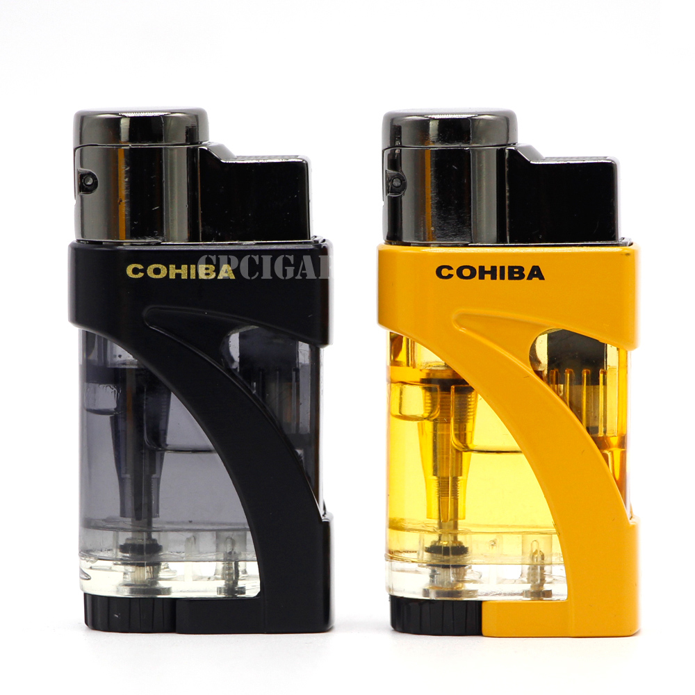 COHIBA Lighter Jet 2 Torches Butane Gas Flame Metal Plastic Lighter Windproof Cigarette Cigar Lighter Flame