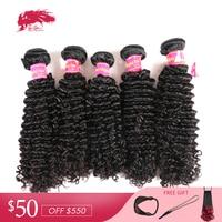 Ali Queen Hair Products Mongolian Afro Kinky Curly Human Hair Wholesales 10Pcs Lot Natural Color 100% Virgin Human Hair Bundles