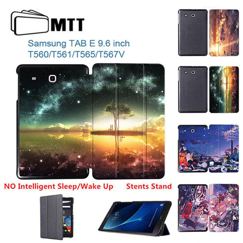 MTT Print Anime Sky Case For Samsung Galaxy Tab E 9.6 T560 T561 Tablet Case Fashion PU Leather Cover for Samsung Tab E 9.6 T565 2015 new luxury fashion smart case for galaxy tab e 9 6 inch tablet cover for samsung galaxy tab e t560 t561 stand case film