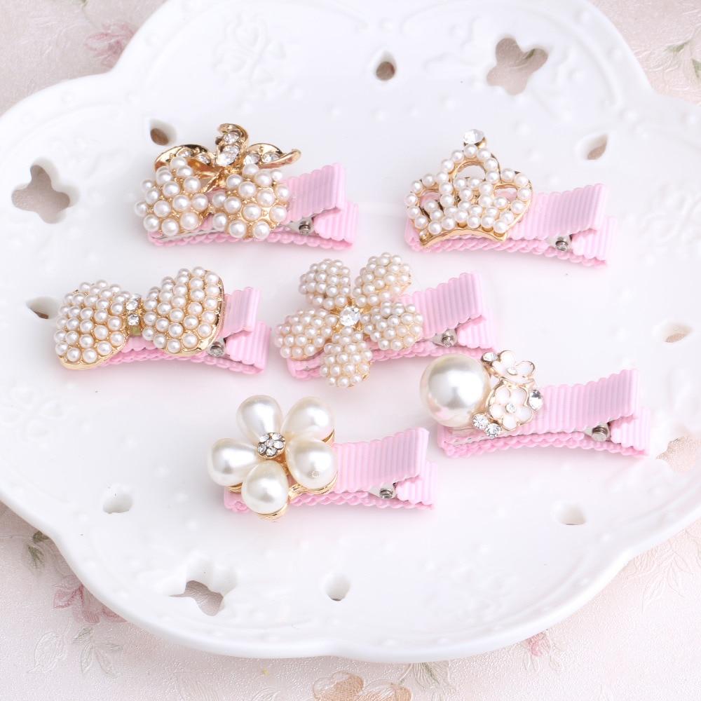unid nias accesorios para el cabello delicado perlas de la corona de las horquillas en
