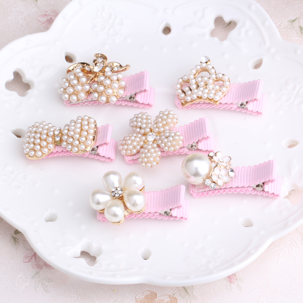 M MISM 1pc Girls Hair Accessories Delicate Pearls Hairpins Crown Flower Shaped BB Pink Hair Ornament Princess Headwear Hair Clip halloween party zombie skull skeleton hand bone claw hairpin punk hair clip for women girl hair accessories headwear 1 pcs