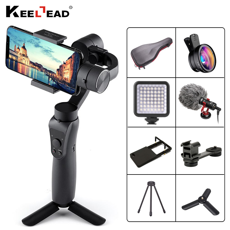 KEELEAD Gimbal-Stabilizer Action-Camera Handheld 3-Axis IPhone Xs Samsung 8-Plus W/focus