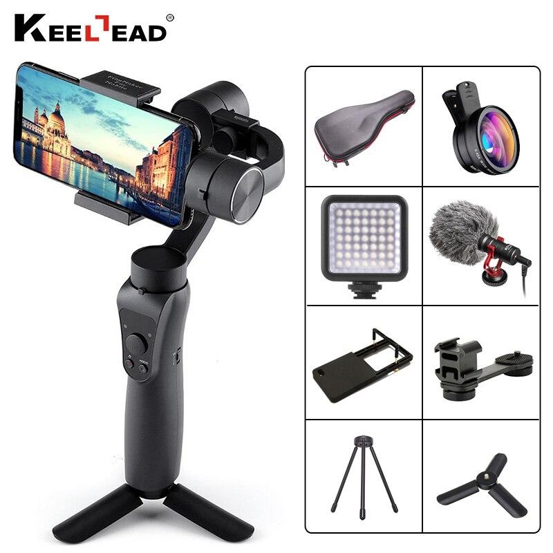 Stabilisateur de cardan tenu dans la main 3 axes KEELEAD avec traction de mise au point et Zoom pour iPhone Xs Max Xr X 8 Plus 7 6 SE caméra d'action Samsung