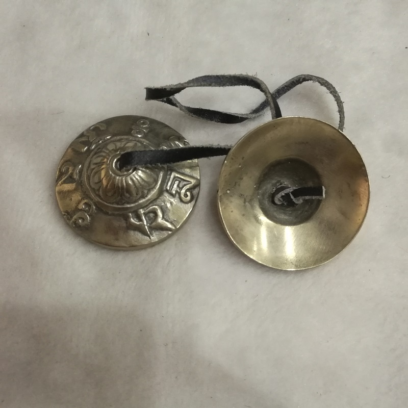 TBC847 Tibetansk klocka Buddhistiska Thing Golden Brass Alloy små - Heminredning - Foto 1