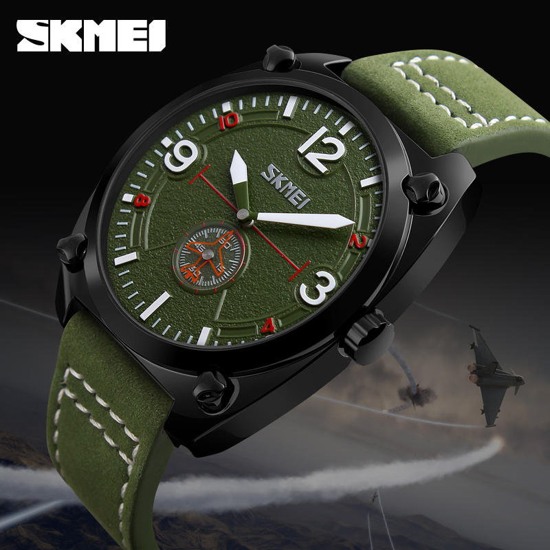 Men Watches SKMEI Brand Leather Casual Quartz Watch Stopwatch Military Army Waterproof Sport Wrist Watches Relogio Masculino