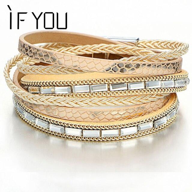 Если вы несколько слоев хрустальные бусины кожаный браслет для Для мужчин имитация жемчуга Плетеный Браслеты браслеты Модные украшения подарок