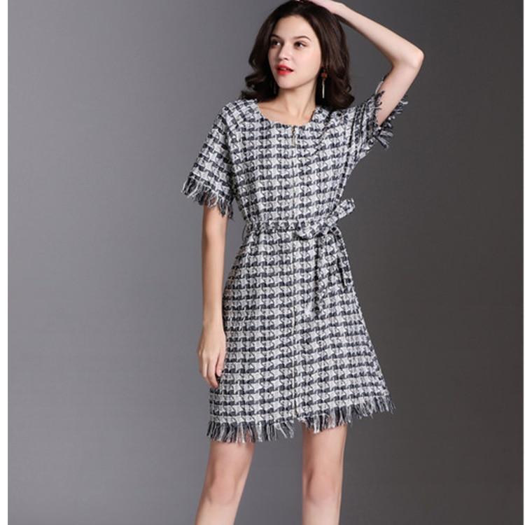2018 À Luxe Femmes Marque Zipper O Design Cou De Avant Haute Automne Courtes Robe Gland Manches Tweed Mode Européenne Qualité z46tWpSt