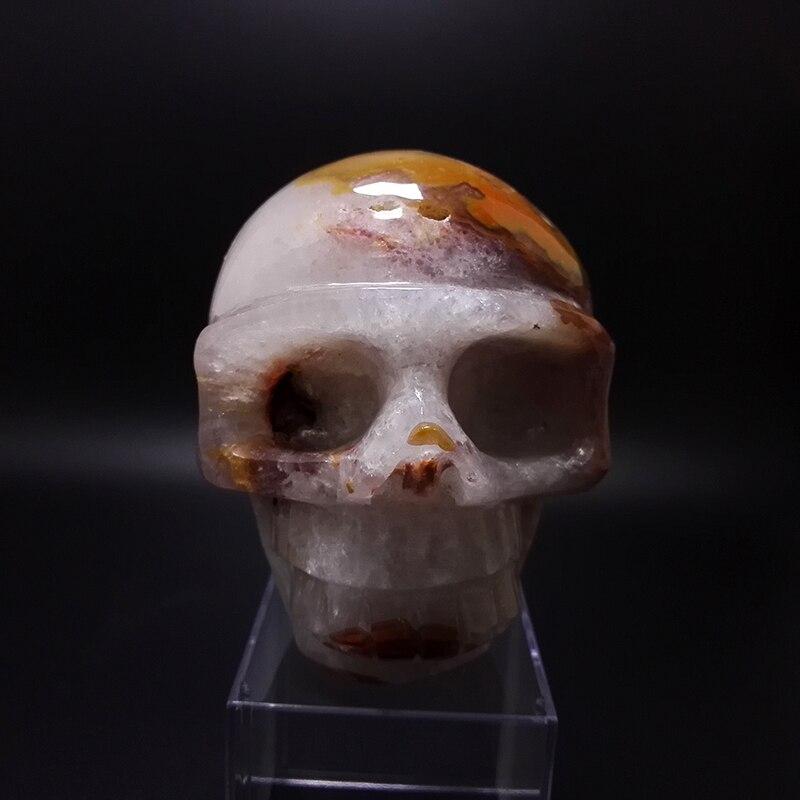 805g cristal naturel crâne décoration pierres et minéraux YELL0W agate à travers le sculpté à la main