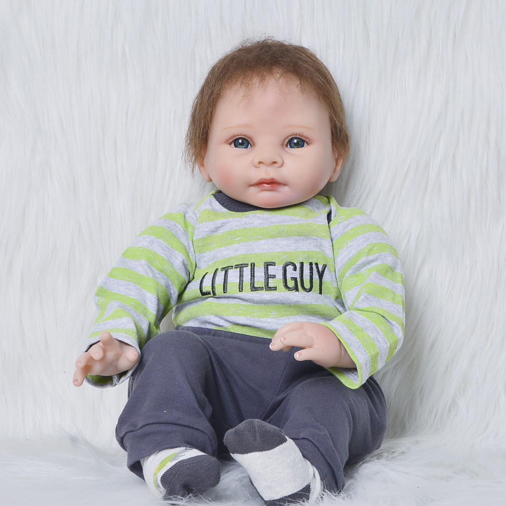 22 Inch Fashion Newborn Doll Full Silicone Body Lifelike Reborn Baby Dolls 55cm Alive Reborn Bonecas Boy For Kids Birthday Gift туфли женские tervolina цвет бежевый baffi1 3 4 размер 40