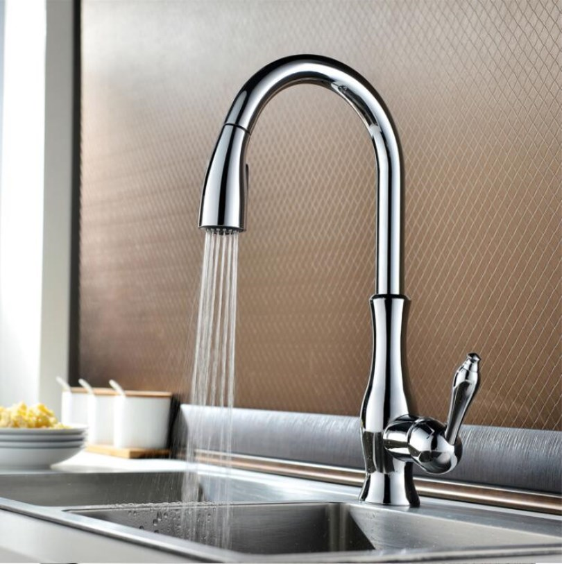 New arrival High quality chrome finished brass kitchen sink pull out faucet,tap mixer with pull out shower head free shipping kitchen mixer tap high quality brass chrome bathroom kitchen faucet with pull out shower head water tap