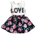 Summer Baby Kids 2Pcs Outfit Sets Kid Girls Vest Tops +Floral Skirt Dress Children Clothes Suits 1-6Y LH6s