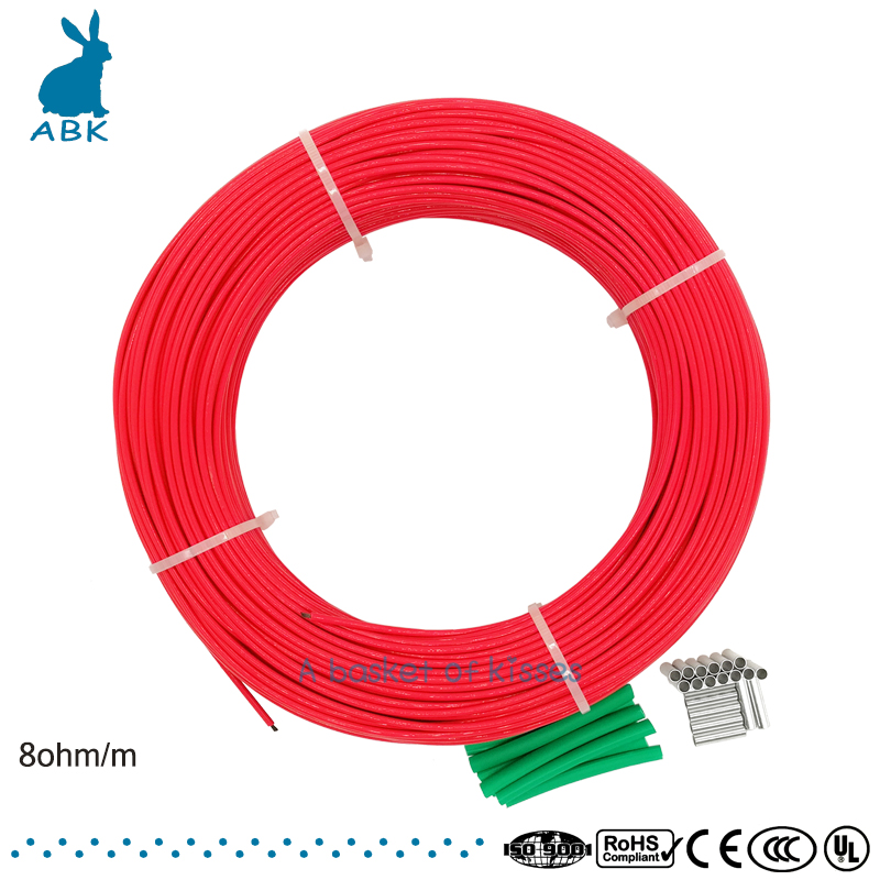 F48K 100meters 8ohm Carbon fiber heating cable PTFE Teflon heating cable Heating wire silicon rubber heating