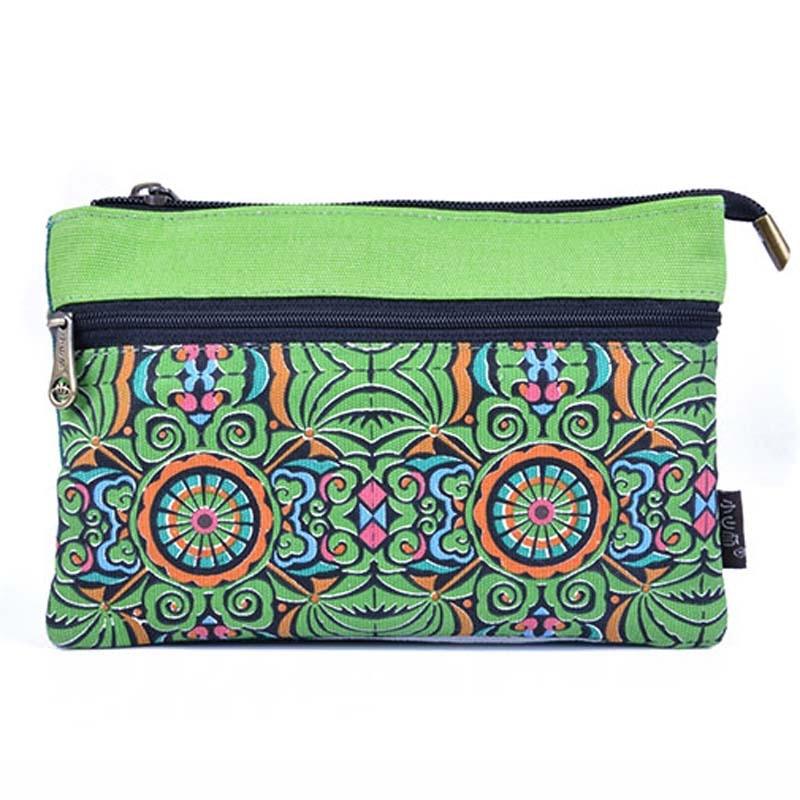 Vintage Embroidery Bag boho original national purse canvas double zipper cross body shoulder messenger bag Travel small handbag