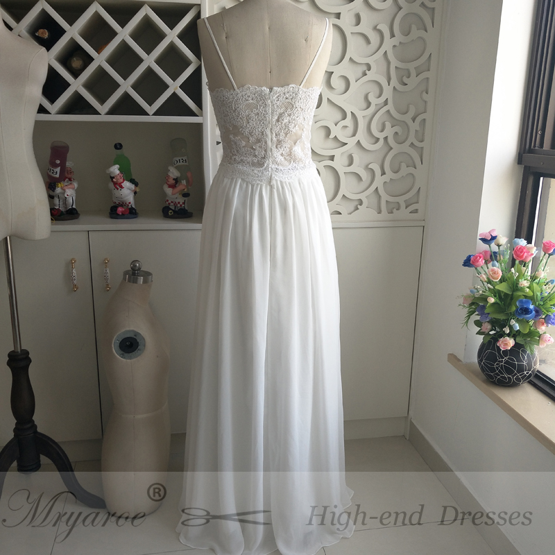 Spaghetti Straps Chiffon Boho Beach Wedding Dress