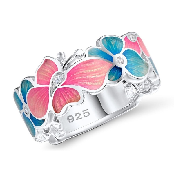 Statement-Rings Flower Openwork Crystal Fashion Women for Party Petal-Shape Butterfly