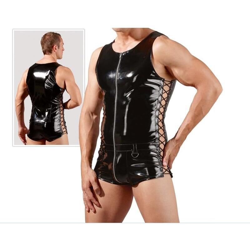 Plus Size M-XXL Sexy Latex Catsuit Men Faux Leather Bodysuit Clubwear Super Cool Bondage Lingerie Mens Pole Dance Clothes