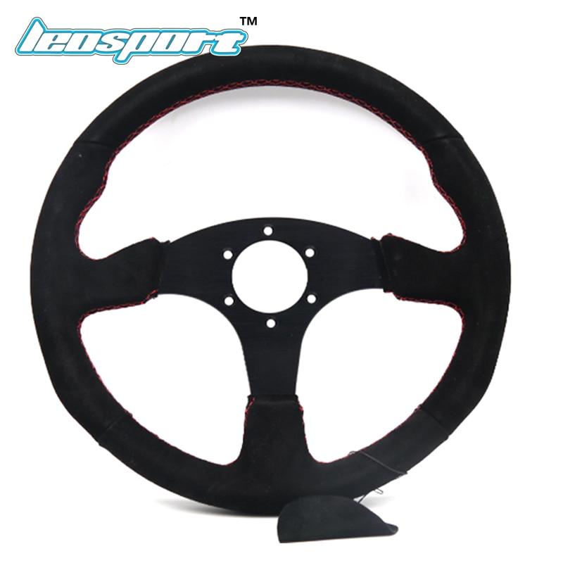 цена на 14 (350mm) For Mugen Steering Wheel Suede Leather red line Steering Wheel Flat Mugen Racing Steering Wheel