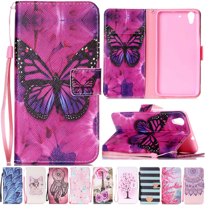 Luxury Cute Cartoon Butterfly Cat Leather Flip Strap Fundas Case For Coque Huawei Ascend Y625 / Honor 5A Y6ii Y6 ii Y6 2 Cover