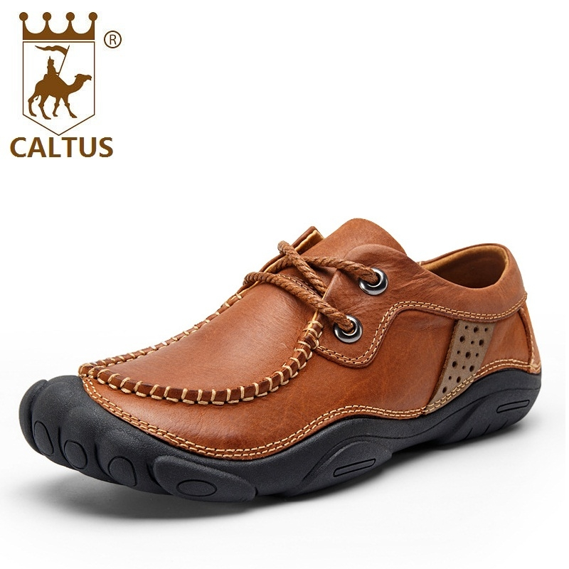 CALTUS 100% Genuine Leather Mens Shoes Casual 2017 Light Weight New Design Flats Men Shoes Wedding And Party Shoes AA20520